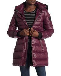 UGG Genuine Lamb Fur Trim Hooded Quilted Coat - Purple