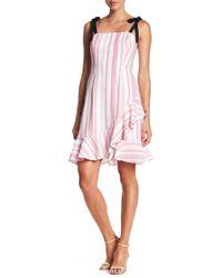 Donna Morgan - Linen Blend Ruffle Hem Dress - Lyst