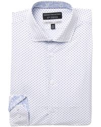 Report Collection Dot Print Performance 4-way Stretch Slim Fit Dress Shirt - Blue
