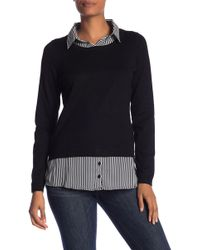 Adrianna Papell Shirttail Twofer Sweater - Blue