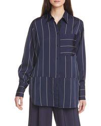La Ligne Stripe Button-up Shirt - Blue
