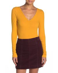 Love, Fire Double V-neck Ribbed Long Sleeve Top - Multicolour