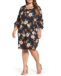 Dorothy Perkins - Floral Print Ruffle Sleeve Shift Dress (plus Size) - Lyst