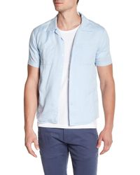 Knowledge Cotton Apparel - Front Button Short Sleeve Woven Shirt - Lyst