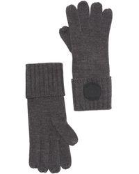 Michael Kors Rib Rubber Patch Gloves - Gray