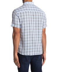 Robert Barakett Fairfield Plaid Print Short Sleeve Shirt - Blue
