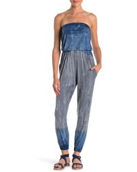 Go Couture Kaitlyn Strapless Knit Jumpsuit - Blue