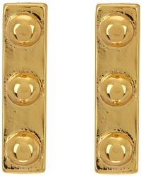 Argento Vivo - 18k Gold Plated Sterling Silver Studded Bar Earrings - Lyst