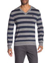 Brooks Brothers - Stripe V-neck Sweater - Lyst
