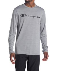Champion Double Dry Graphic Long Sleeve Tee - Gray