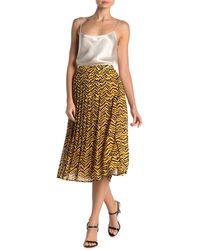 Jealous Tomato Zebra Stripe Print Pleated Midi Skirt - Yellow