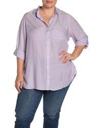 Velvet Heart Elisa Striped Roll Sleeve Shirt - Purple