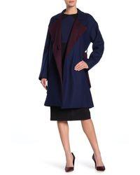Diane von Furstenberg Belted Wool Blend Wrap Coat - Blue