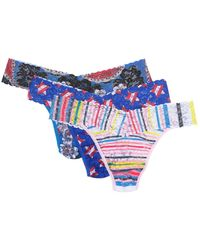 Hanky Panky Original Rise Lace Thongs - Pack Of 3 - Blue