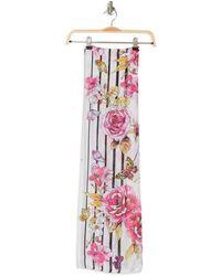 Vince Camuto Floral & Stripe Oblong Scarf - Multicolor