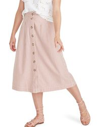Madewell Patio Stripe Button Front Midi Skirt - Pink