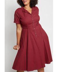 ModCloth Colletif X Mc Cherished Era Midi Shirt Dress - Red