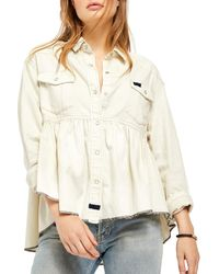 Free People Dylan Button Down Babydoll Top - White