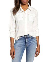 Caslon Caslon Clip Dot Detail Button Down Shirt - White