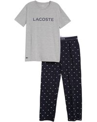 Lacoste Logo T-shirt & Lounge Pants Pajama 2-piece Set - Gray