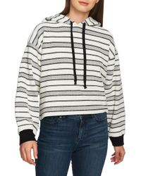 1.STATE - Striped Jacquard-knit Hoodie Top - Lyst