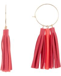 Panacea Pink Mix Tassel 89mm Hoop Earrings