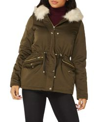 Dorothy Perkins - Hooded Parka With Removable Faux Fur Trim - Lyst