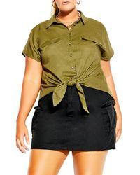 City Chic Explorer Tie Front Top - Green