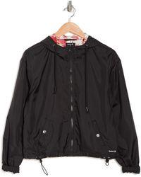 Hurley Solid Hooded Jersey Lined Windbreaker Jacket - Black