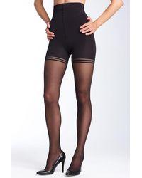 Donna Karan Sheer Satin Ultimate Toner Pantyhose - Black