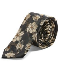 TOPMAN Floral Jacquard Tie - Black