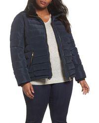 Dorothy Perkins Faux Fur Trim Hooded Puffer Jacket (plus Size) - Blue