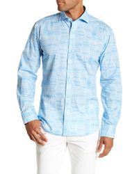 Bugatchi - Long Sleeve Front Button Print Shaped Fit Woven Shirt - Lyst