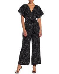 Lush Patterned Tie Back Jumpsuit - Black