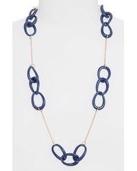 Lele Sadoughi Interlocking Hoop Station Necklace - Blue