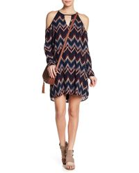 Charles Henry - Cold Shoulder Printed Chiffon Dress - Lyst