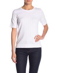 Catherine Malandrino Textured Short Sleeve Sweater Top - White