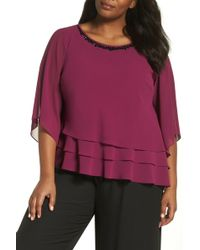 Alex Evenings - Embellished Tiered Chiffon Top (plus Size) - Lyst