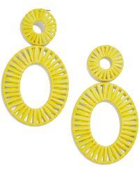 BaubleBar Kiera Raffia Drop Earrings - Yellow