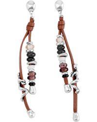 Uno De 50 - Liana Beaded Leather Figure Dangle Earrings - Lyst