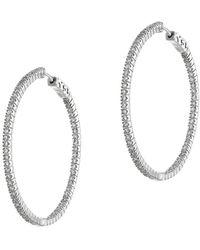 CZ by Kenneth Jay Lane Cz 25mm Hoop Earrings - Metallic