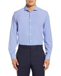 Report Collection Square Print Modern Fit Dress Shirt - Blue