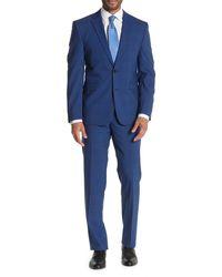 Vince Camuto Blue Plaid Two Button Notch Lapel Slim Fit Suit