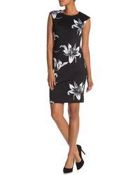 T Tahari Floral Print Cap Sleeve Dress - Black