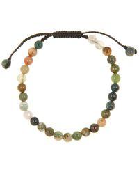 Link Up Moss Agate Beaded Slide Bracelet - Metallic