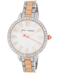 Betsey Johnson - Women's Bedazzled Crystal Embellished Bracelet Watch, 38mm - Lyst