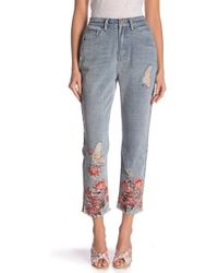 Lost Ink - Floral Hem High Waist Jeans - Lyst