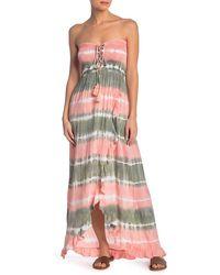 Tiare Hawaii Strapless Tie Dye Maxi Dress - Gray