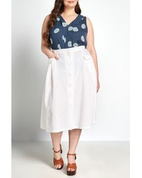 ModCloth Effortless Feature Midi Skirt - White