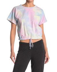Lush Tie Dye Drawstring Hem Shirt - White